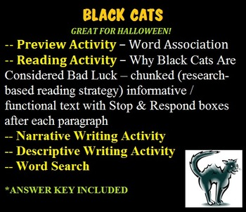 BLACK CATS - functional/informative chunked reading - GREAT FOR HALLOWEEN!