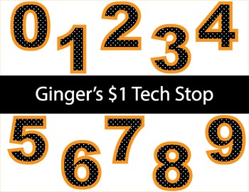 BLACK DOT WITH ORANGE BORDER! * Bulletin Board Letters * Numbers * 0123456789