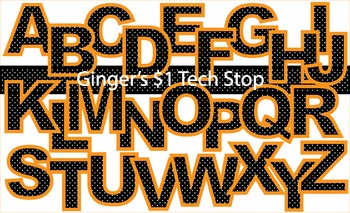 BLACK DOT WITH ORANGE BORDER! * Bulletin Board Letters * Upper Case * Alphabet