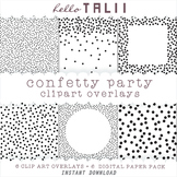 Black Dots Confetti Clipart Overlays- 6 Transparent PNG + 6 JPG Digital Papers-