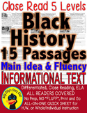 BLACK HISTORY 15 LEVELED PASSAGES Close Reading Main Idea Fluency TDQs & More!!!