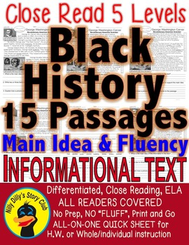 BLACK HISTORY 15 PASSAGES 5 LEVELS EACH DIFFERENTIATED INF