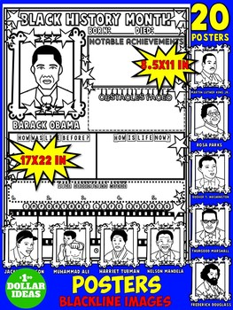 BLACK HISTORY MONTH ACTIVITIES   20 BIOGRAPHY POSTERS