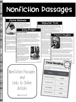 BLACK HISTORY MONTH READING STRATEGIES CLOSE READING & TEXT DEPENDENT QUESTIONS