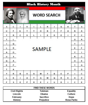 BLACK HISTORY MONTH Word Search Game- Easy to prepare and play. Answers included