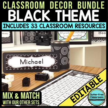 BLACK MODERN PATTERN Classroom Decor-EDITABLE Clutter-Free