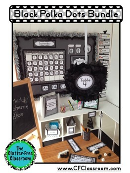 BLACK POLKA DOTS Classroom Decor - EDITABLE Clutter-Free Classroom Decor BUNDLE
