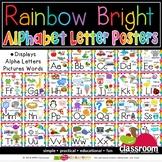 BLACK PRINT ALPHABET POSTERS - RAINBOW BRIGHT CLASSROOM DÉCOR