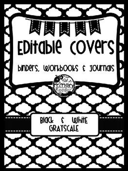 BLACK & WHITE BLISS {editable} BINDER COVERS