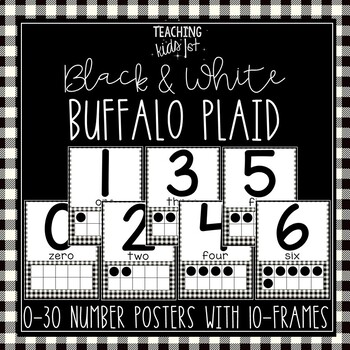BLACK & WHITE BUFFALO PLAID 0-30 NUMBER POSTERS WITH 10-FRAMES