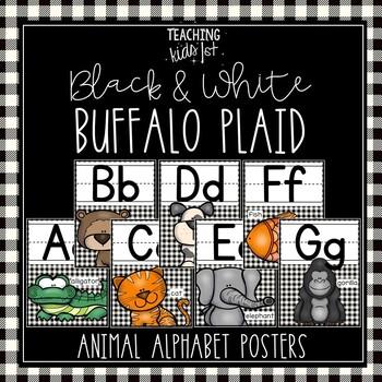 BLACK & WHITE BUFFALO PLAID ANIMAL ALPHABET POSTERS