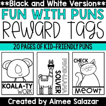 BLACK & WHITE Reward Tags {Fun with Puns}