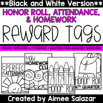 BLACK & WHITE Brag Tags {Honor Roll, Attendance, Homework}