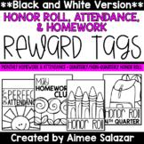 BLACK & WHITE Brag Tags {Honor Roll, Attendance, Homework}