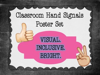 BLACK & WHITE Chalkboard Theme - Classroom Hand Signals Poster Set