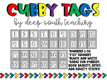 BLACK & WHITE Cubby Tags!