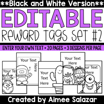 BLACK & WHITE Brag Tags {Editable Set #2}