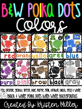 BLACK & WHITE POLKA DOT THEME Classroom Decor Posters- Colors