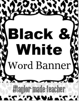 BLACK & WHITE word/name Banner {Editable PPT Template}