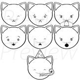Cat Emojis (black and white version) - VIPKid Feelings ESL Props