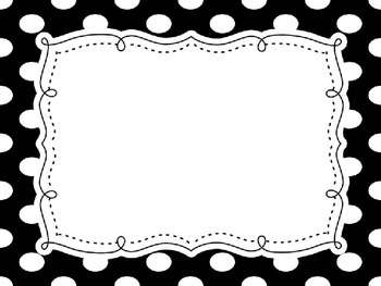 BLACK and WHITE POLKA DOT editable labels
