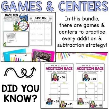 Two-Digit & Three-Digit Addition & Subtraction Strategies BUNDLE