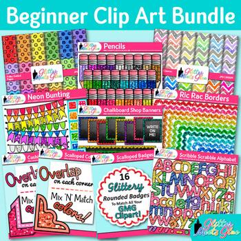 Beginner Clip Art Bundle {Alphabet Letters, Pencils, Scrap
