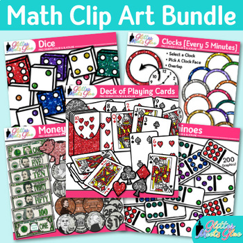 Math Clip Art Bundle {Dominoes, Dice, Money, Clocks, Deck of Playing Cards}