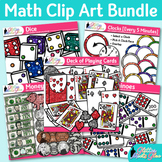 Math Clip Art Bundle | Dominoes, Dice, Money, Clocks, Deck of Playing Cards