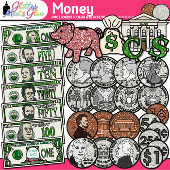 Math Clip Art Bundle   Dominoes, Dice, Money, Clocks, Deck of Playing Cards