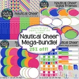 Nautical Cheer BUNDLE - Digital Papers, Frames, Buntings,