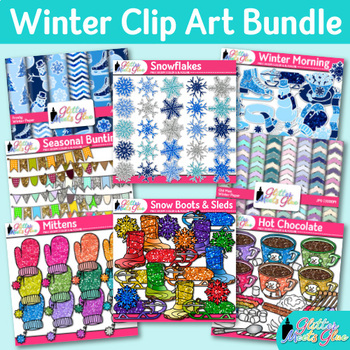 Winter Clip Art Bundle {Snowflakes, Snowman, Scrapbook Papers, & Mittens}