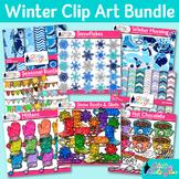 Winter Clip Art Bundle | Snowflakes, Snowman, Scrapbook Papers, & Mittens