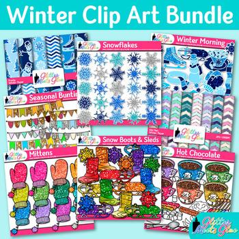 Winter Clip Art Bundle {Snowflakes, Snowman, Scrapbook Pap