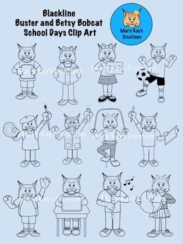 BLACKLINE Buster and Betsy Bobcat Mascot School Days Clip Art
