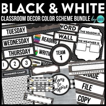BLACKLINE DESIGN- CLASSROOM DECOR & MORE BUNDLE (black, white & grey)