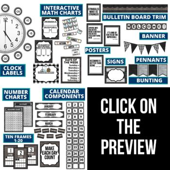 BLACKLINE DESIGN- CLASSROOM DECOR & MORE BUNDLE (black, white & grey)