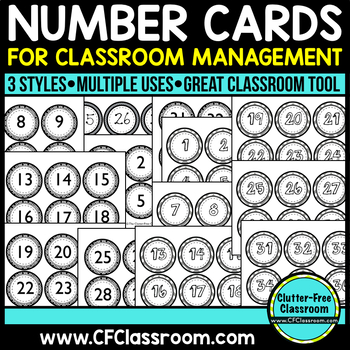 BLACKLINE DESIGN- NUMBER CARDS for CLASSROOM MANAGEMENT