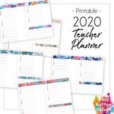 BLANK 2019 Printable Teacher Diary Planner - Blue Geometric Pattern