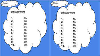 BLANK ANSWER SHEETS