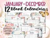 BLANK (Any Year) Reusable Calendar Watercolor, 8.5x11 Printable