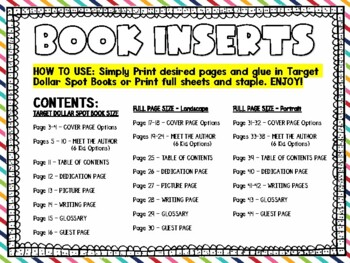 BLANK BOOK INSERTS for Publishing Stories (Fits in Target Dollar Spot Books)