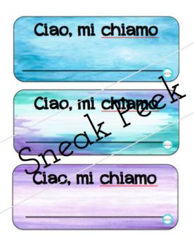 BLANK NAME PLATES - English & Italian - *PACK OF 6* - watercolour