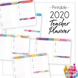 BLANK Printable 2019 Teacher Diary Planner - Blue Geometric Pattern