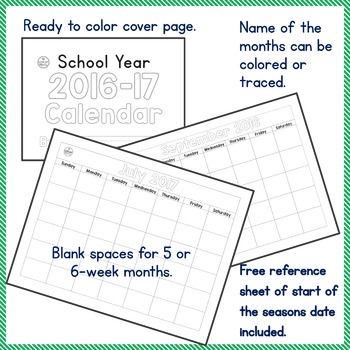 Teach Calendar Skills with Blank Monthly Calendar for SY 2016-17 PK-2, SPED