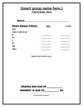 BLANK T-SHIRT ORDER FORM