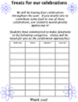BLANK TREATS TEMPLATE food donation 4 celebrations holidays up to 32 students