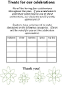 BLANK TREATS TEMPLATE food donation 5 celebrations holidays up to 20 students