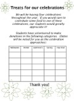 BLANK TREATS TEMPLATE food donation 5 celebrations holidays up to 25 students