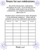 BLANK TREATS TEMPLATE food donation 4 celebrations holidays up to 28 students